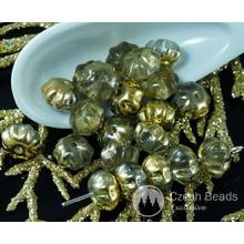 Deckende Metallic-Gold Klar Tschechische Glas Gequetscht Melone Perlen Frucht Kürbis Halloween Herbst Perlen 8mm 18pcs für $ 2.4 von Czech Beads Exclusive