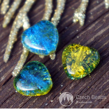 Yellow Blue Cracked Glass Heart Beads Yellow Heart Beads Blue Heart Beads Valentine Bead Valentines Beads Czech Cracked Glass Bead 10mm 8pc for $2.37 from Czech Beads Exclusive