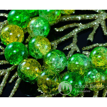 Large Clear Yellow Green Czech Cracked Glass Beads 12mm 6pcs for $2.4 from Czech Beads Exclusive