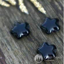 Opaque Black Star Beads Glass Star Bead Flat Star Glass Beads Star Czech Glass Beads Halloween Star Bead 7mm x 8mm 30pc for $2.27 from Czech Beads Exclusive
