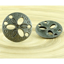 1pc Flower Czech Findings Matte Aged Antique Silver Round 2 Two Hole Connector Focal Handmade 19mm for $2.99 from Czech Beads Exclusive