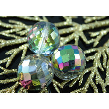 Aged Extra Large Clear Metallic Iris Czech Faceted Fire Polished Round Glass Beads 20mm 2pcs for $2.54 from Czech Beads Exclusive