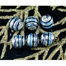 2pcs Czech Handmade Lampwork Blue Black Solid Silver Round Glass Beads Grace Striped Christmas Pair SRA Artisan 8mm for $3.17 from Czech Beads Exclusive
