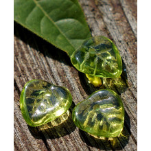 Olive Green Czech Glass Leaf Beads Carved 9mm 36pcs for $2.25 from Czech Beads Exclusive