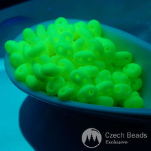 20g Neon Yellow Twin Seed Beads Glass Czech Seed Beads Czech Two Hole Beads PRECIOSA Twin Beads Czech Twins 2.5mm x 5mm for $4.31 from Czech Beads Exclusive