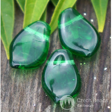 Transparent Green Glass Leaf Beads Czech Leaf Beads Leaf Bead Green Carved Leaf Beads Leaf Beads Carved 15mm x 10mm 14pc for $2.27 from Czech Beads Exclusive