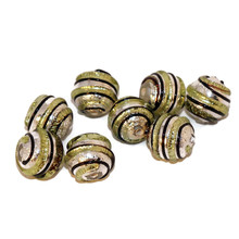 2pcs Green Black Silver Lampwork Czech Glass Handmade  Beads Round Christmas Set Solid Silver Striped Pair SRA Artisan  8mm for $3.17 from Czech Beads Exclusive