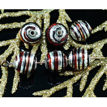 2pcs Czech Handmade Lampwork Red Black Solid Silver Round Glass Beads Grace Striped Christmas Pair SRA Artisan 8mm for $3.17 from Czech Beads Exclusive