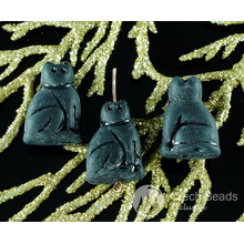 8pcs Rustic Matte Black Czech Glass Cat Beads Animal Carved Halloween 20mm x 14mm for $2.33 from Czech Beads Exclusive