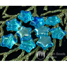 Shiny Gold AB Clear Blue Czech Glass Star Beads 12mm 12pcs for $2.27 from Czech Beads Exclusive