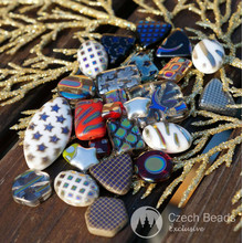 SUPER MIX! 100g 50pcs Mix Peacock Czech Glass Beads Peacock Oval Beads Peacock Square Beads Peacock Rectangle Round Star Triangle Beads for $6.44 from Czech Beads Exclusive