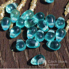 Clear Turquoise Czech Glass Teardrop Beads Drop Small 6mm x 4mm 50pcs for $2.31 from Czech Beads Exclusive