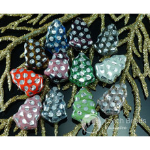 Mix Multicolor Silver Dotted Czech Glass Flat Christmas Tree Beads 17mm x 12mm 10pcs for $2.46 from Czech Beads Exclusive