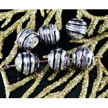 2pcs Czech Handmade Lampwork Purple Black Solid Silver Round Glass Beads Grace Striped Christmas Pair SRA Artisan 8mm for $3.17 from Czech Beads Exclusive