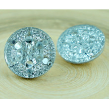 1pc Crystal Silver Dotted Star Snowflake Handmade Czech Glass Buttons Size 8, 18mm for $3.23 from Czech Beads Exclusive