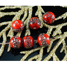 2pcs Czech Handmade Lampwork Opaque Red Aventurine Bronze Spotted Dotted Round Glass Beads Christmas Pair SRA Artisan 8mm for $3.17 from Czech Beads Exclusive
