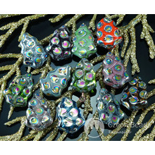 Mix Multicolor Dotted Peacock Czech Glass Flat Christmas Tree Beads Carved 17mm x 12mm 10pcs for $2.44 from Czech Beads Exclusive