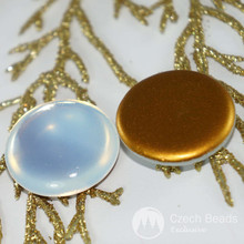 2pcs Clear Moonstone Gold Czech Glass Cabochon Czech Glass Domes 24mm x 7mm for $2.37 from Czech Beads Exclusive