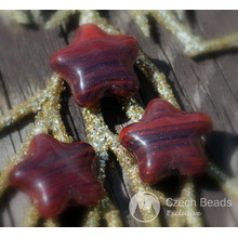 Picasso Red Black Star Beads Glass Star Bead Picasso Flat Star Glass Beads Red Star Czech Glass Beads Clear Glass Czech Star Bead 12mm 12pc for $1.86 from Czech Beads Exclusive
