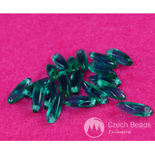 100pcs Small Clear Emerald Green Czech Glass Dagger Beads Glass Leaf Beads Petal Beads 10mm x 3mm for $3.42 from Czech Beads Exclusive