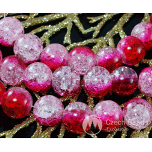 Large Clear Valentine Pink Red Czech Cracked Glass Beads 12mm 6pcs for $2.4 from Czech Beads Exclusive