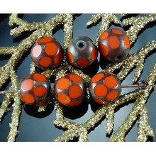 Picasso Orange Brown Czech Glass Faceted Beads Window Table Cut Dotted Football Easter 8mm 20pcs for $2.72 from Czech Beads Exclusive