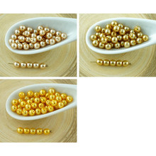 100pcs Gold Pearl Imitation Czech Glass Round Beads 4mm for $3.2 from Czech Beads Exclusive