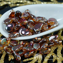 60pcs Clear Luster Bronze PIP Beads Czech Glass PIP PRECIOSA PIP Beads Czech Flower Flat Flower Petal Beads 5mm x 7mm for $3.13 from Czech Beads Exclusive