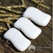 Rectangle Brick Wave Large White Beads Czech Glass Beads White Flat Glass Beads 20mm x 12mm 6pcs for $2.29 from Czech Beads Exclusive