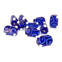 Blue White Gzhel Czech Glass Lampwork Handmade Beads Triangle Tube Curl Beads Christmas 16mm x 10mm 2pc for $7.9 from Czech Beads Exclusive