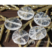 Clear Crystal Beads Cracked Glass Beads Large Flat Round Glass Beads Clear Round Czech Glass Beads Flat Coin Beads Wedding Beads 14mm 6pcs for $2.4 from Czech Beads Exclusive