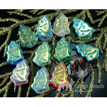Mix Carved AB Half Czech Glass Flat Christmas Tree Beads 17mm x 12mm 10pcs for $2.46 from Czech Beads Exclusive