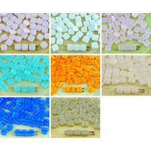 40pcs Opal Tile Flat Square 2 Two Hole Czech Glass Beads 6mm for $2.94 from Czech Beads Exclusive