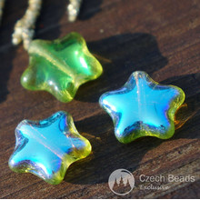 Olive Green AB Star Beads Glass Star Bead Flat Star Glass Beads Star Czech Glass Beads Olive Green Glass Czech Star Beads 12mm 12pc for $2.27 from Czech Beads Exclusive