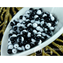 Black White Czech Glass Round Beads Bicolor Spacer Two Tone 4mm 14g Approximately 140pcs for $2.27 from Czech Beads Exclusive