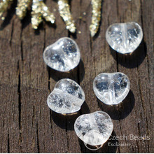 Small Crystal Clear Czech Cracked Glass Heart Beads Valentine Love Wedding 7mm x 8mm 40pcs for $2.4 from Czech Beads Exclusive