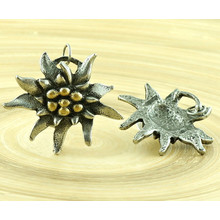 1pc Large Flower Czech Findings Matte Aged Antique Silver Gold Bohemian Pendant Focal Rustic Handmade 35mm for $3.4 from Czech Beads Exclusive
