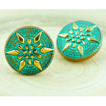 1pc Gold Turquoise Matte Carved Flower Star Handmade Czech Glass Buttons Size 8, 18mm for $3.43 from Czech Beads Exclusive