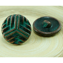 1pc Star Flower Czech Green Turquoise Patina Aged Copper Button Size 10, 22.5mm for $2.3 from Czech Beads Exclusive