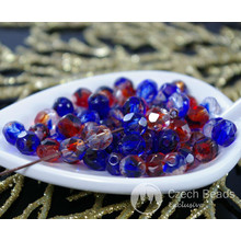 Red Blue Clear Czech Glass Mix Faceted Fire Polished Round Beads 6mm 50pcs for $2.49 from Czech Beads Exclusive