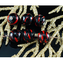 2pcs Czech Handmade Lampwork Opaque Red Black Striped Twisted Spiral Coiled Round Glass Beads Christmas Halloween Pair SRA Artisan 8mm for $3.2 from Czech Beads Exclusive