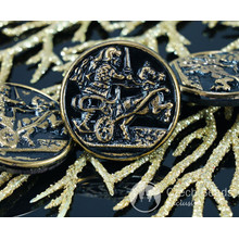 Handmade Czech Glass Buttons Gold Rider Horse Black Greek Style Alexander Of Macedonia Size 12, 27mm 1pc for $2.98 from Czech Beads Exclusive
