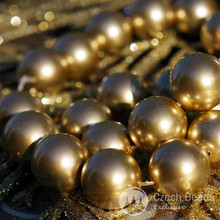 6pcs Large Gold Pearl Imitation Czech Glass Round Beads 14mm for $3.14 from Czech Beads Exclusive