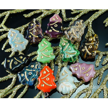 Mix Multicolor Gold Carved Czech Glass Flat Christmas Tree Beads 17mm x 12mm 10pcs for $2.44 from Czech Beads Exclusive