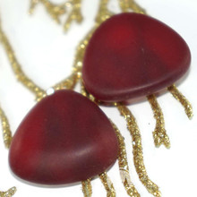 2pcs Matte Red Czech Glass Triangle Cabochon Czech Glass Domed Cabochon 22mm x 23mm x 7mm for $2.37 from Czech Beads Exclusive