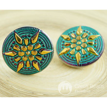 1pc Turquoise Gold Dichroic Vitrail Volcano Star Flower Handmade Czech Glass Buttons Size 12, 27mm for $3.91 from Czech Beads Exclusive