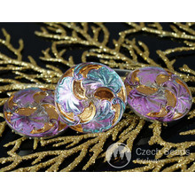 Handmade Czech Glass Buttons Large Gold Leaf Flower Dichroic Vitrail Light Size 12, 27mm 1pc for $4.01 from Czech Beads Exclusive