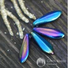 Opaque Metallic Iris Czech Glass Dagger Beads Flat Leaf 16mm x 5mm 20pcs for $2.28 from Czech Beads Exclusive