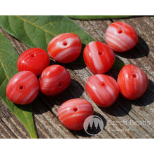 Picasso Red White Oval Czech Glass Beads Picasso Squashed Beads Picasso Czech Glass Bohemian Beads Picasso Spacer Beads 8mm x 6mm 20pc for $1.95 from Czech Beads Exclusive
