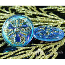 Handmade Czech Glass Buttons Large Butterfly Crystal Blue Gold AB Size 12, 27mm 1pc for $3.51 from Czech Beads Exclusive